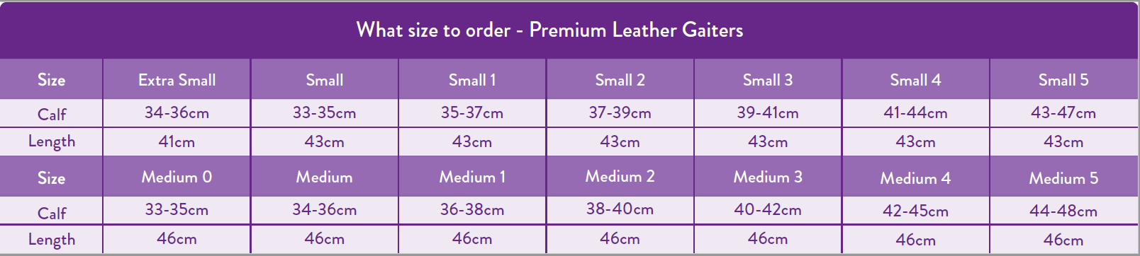 Gaiter Adult Sizing Chart
